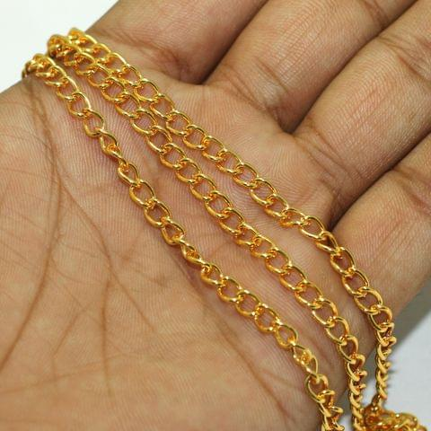 1 Mtr Rose Gold Metal Chain, Link Size 5x4mm