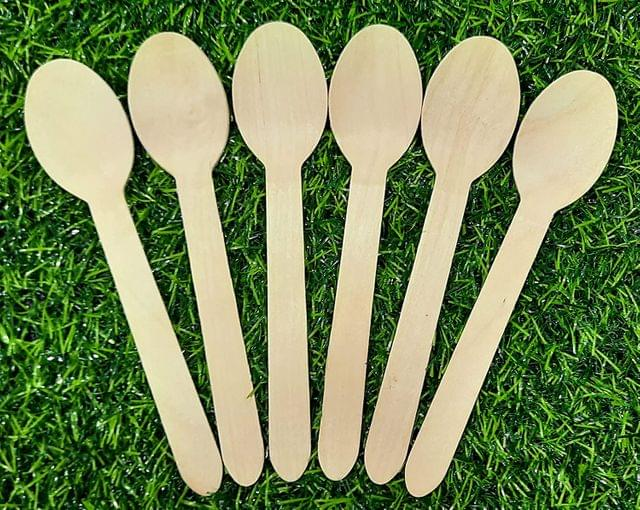 Disposable Wooden Spoons for 6.25 Inch x 1.25 Inch Pack of 50 Pcs.