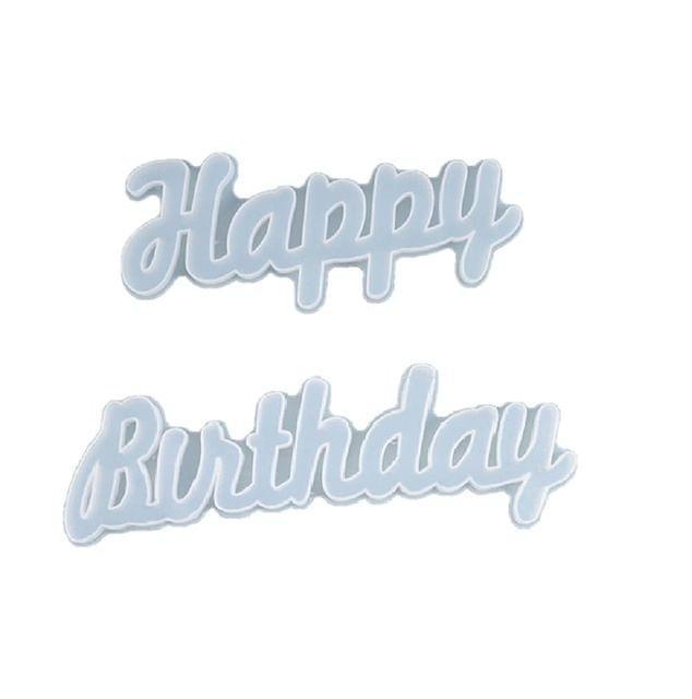 Happy Birthday Epoxy Resin Silicone Molds 10.5 X 3.2 inch 13.5 X 3.2 INCH