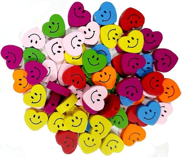 Heart Shape Wooden Smiley Beads, 2cm - Pack of 50 GMS, Approx 60 Pcs