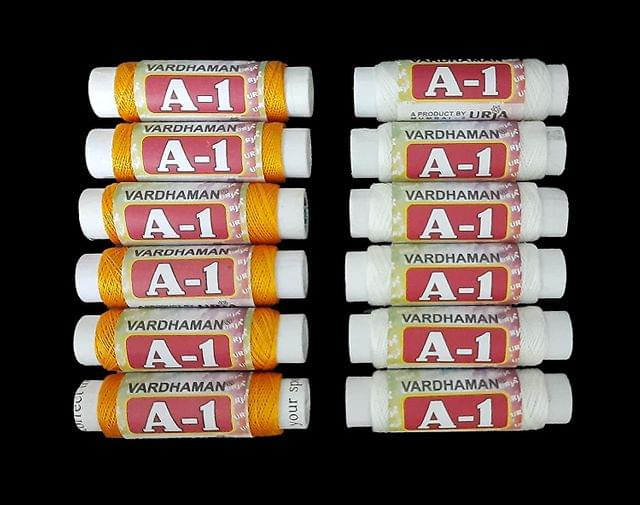Vardhaman A-1 Nylon Thread Combo of White and Orange 18 White and 18 Orange Threads
