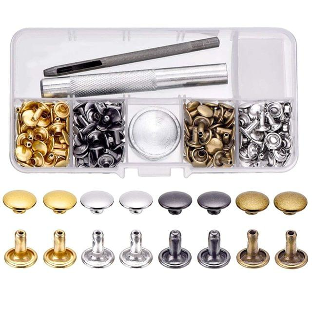Rivets Double Cap Rivets with Fixing Tool Kit for Craft, 4 Color 100 Piece Set