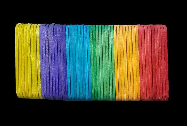 Multicolor Wooden Sticks, 5.5cm x 1.1cm Pack of 12 x 50 Sticks ,  600 Pcs.