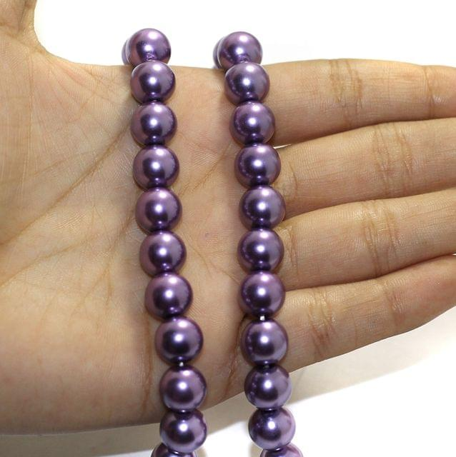 1 String Shell Pearl Beads Muave, Size 10mm