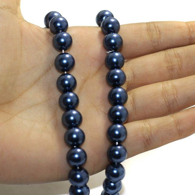 1 String Faux Pearl Round Beads MarineBlue Size 10mm