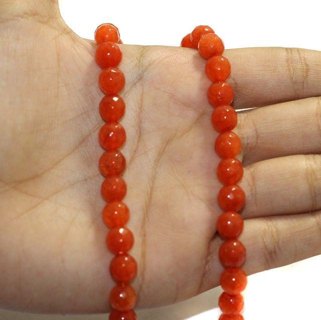 1 String Zed Cut Round Beads Orange 8mm