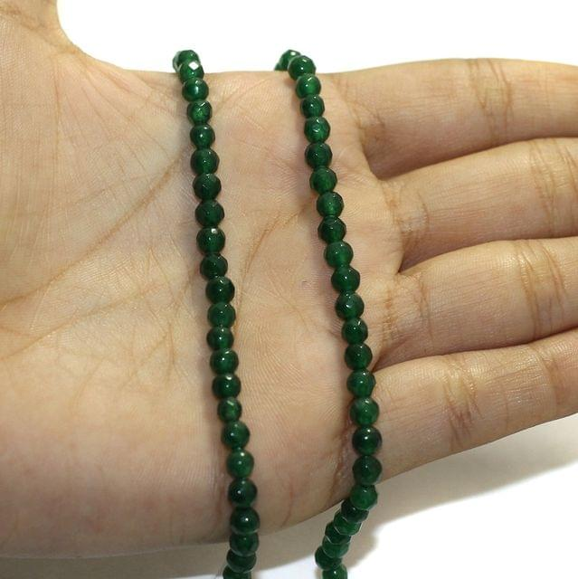 1 String Zed Cut Round Beads Green 4mm