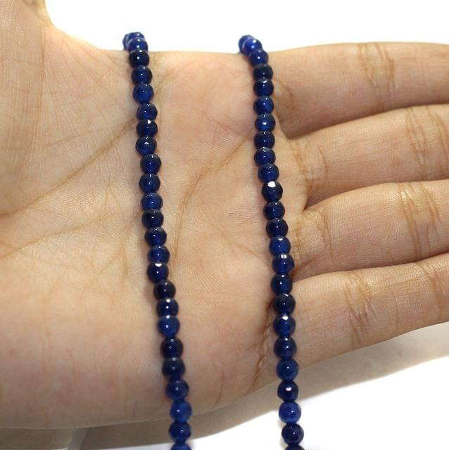 1 String Zed Cut Round Beads Blue 4mm