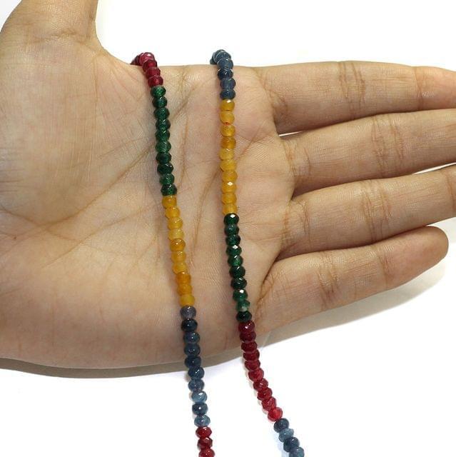 1 String Zed Cut Tyre Beads Multi 3x4mm