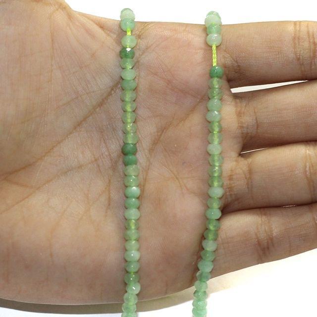 1 String Zed Cut Tyre Beads Light Green 3x4mm