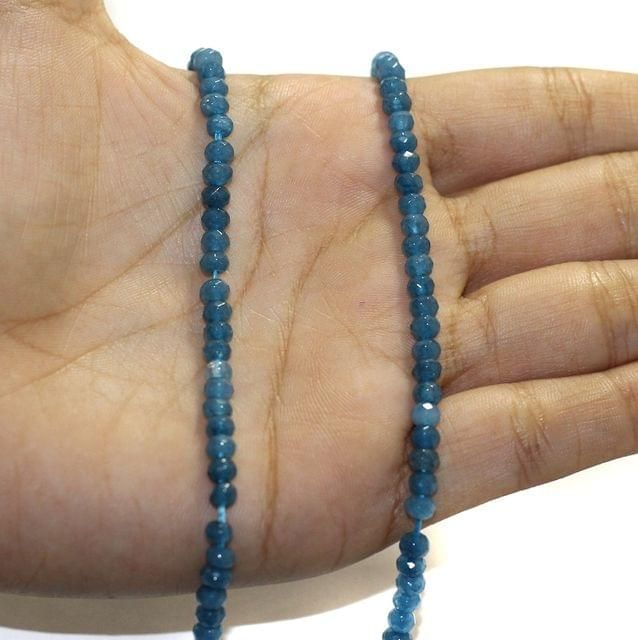 1 String Zed Cut Tyre Beads Turquoise 3x4mm