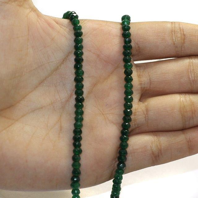 1 String Zed Cut Tyre Beads Green 3x4mm
