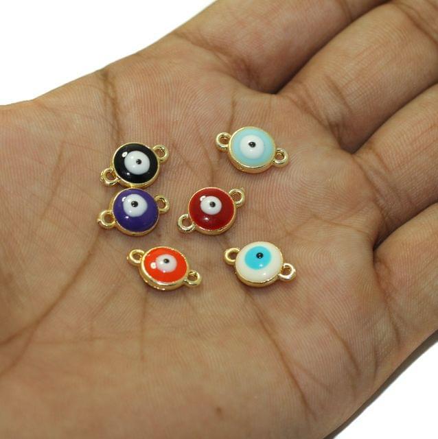 6 Pcs Multi Color Evil Eye Connectors Charms Round 9mm