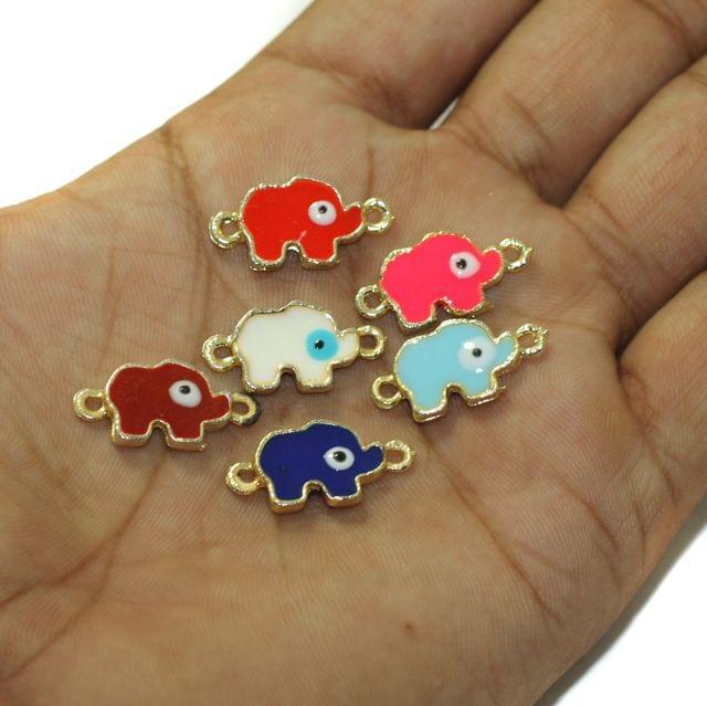 6 Pcs Evil Eye Elephant Connectors Charms Assorted Color 15x11mm