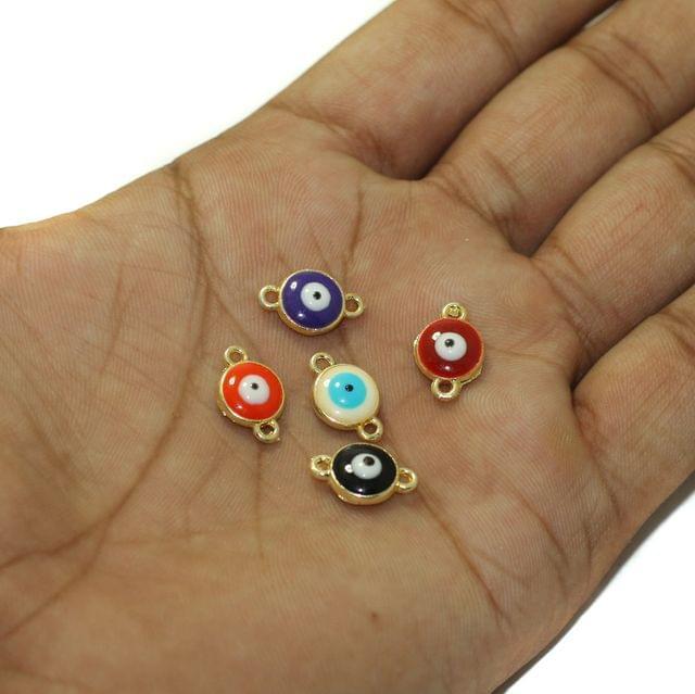 5 Pcs Multi Color Evil Eye Connectors Charms Round 9mm