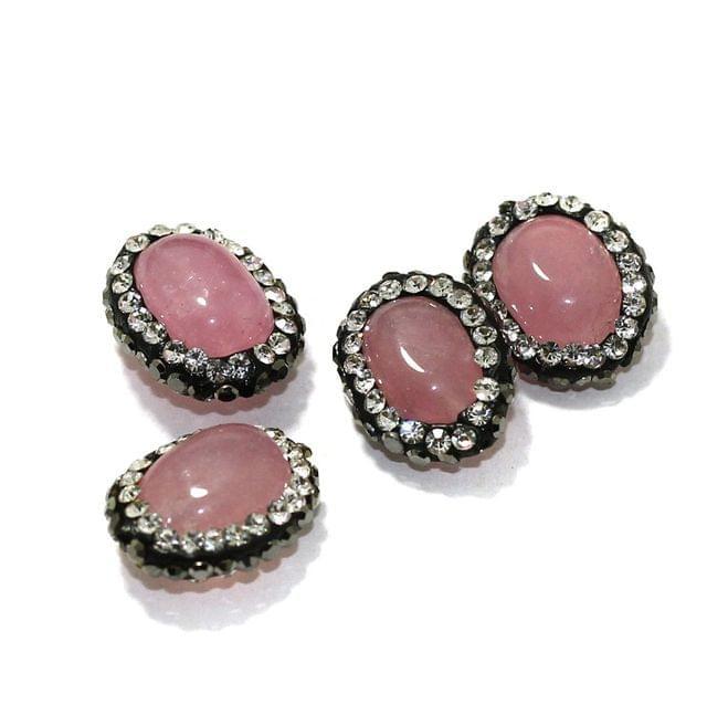 4 Pcs Gemstone CZ Beads Pink Oval 16x12mm
