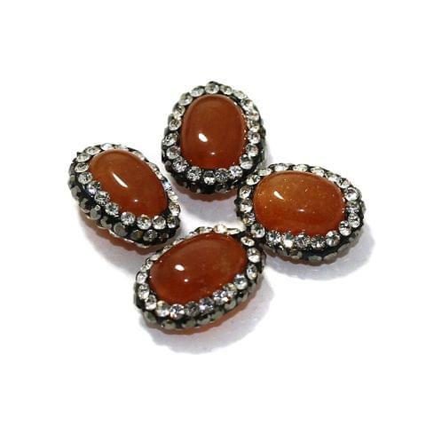 4 Pcs Gemstone CZ Beads Orange Oval 16x12mm