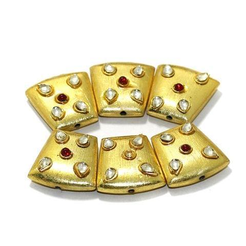 10 Pcs German Silver Kundan Work Beads Golden 20x20x15mm