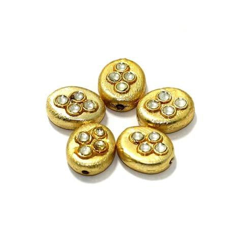 10 Pcs German Silver Kundan Work Beads Oval Golden 14x11mm