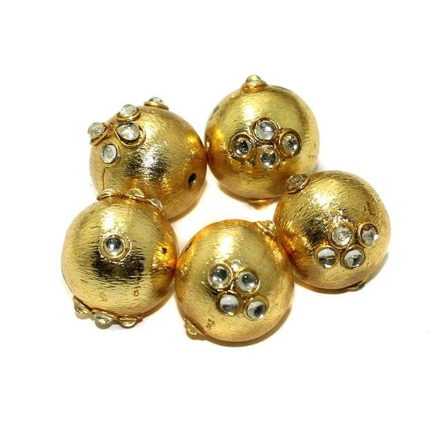10 Pcs German Silver Kundan Work Beads Round Golden 16mm