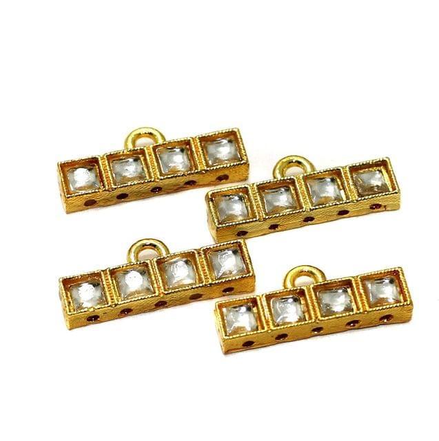10 Pcs 5 Holes Strand Kundan Spacer Link Connectors 23x5mm