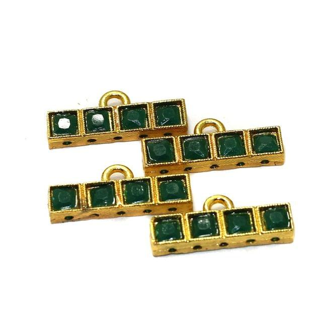 10 Pcs 5 Holes Strand Kundan Spacer Bar Link Connectors 23x5mm