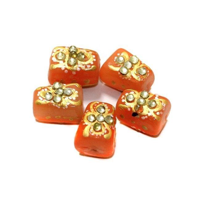 5 Pcs Handpainted Kundan Work Tumbled Beads Orange 14x10mm