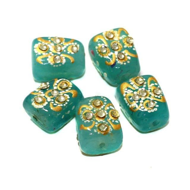 5 Pcs Handpainted Kundan Work Tumbled Beads Turquoise 17x13mm