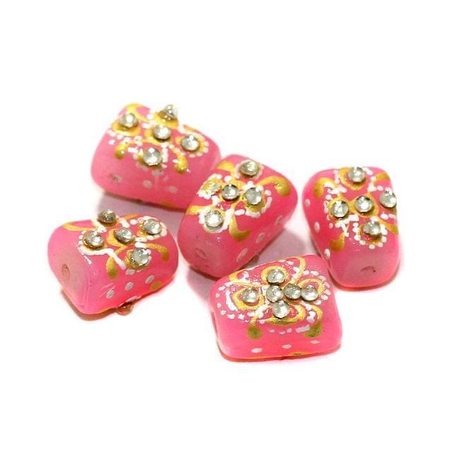 5 Pcs Handpainted Kundan Work Tumbled Beads Pink 14x10mm