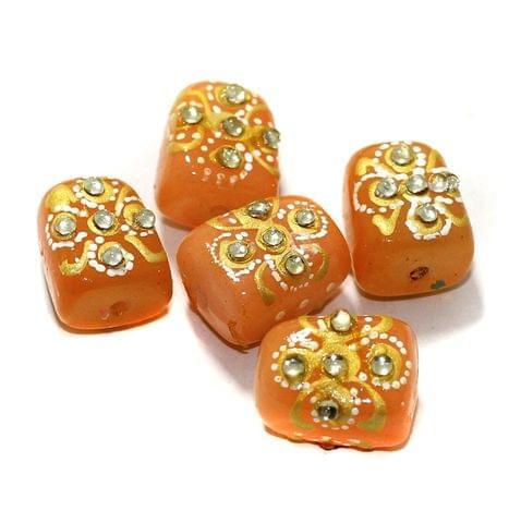 5 Pcs Handpainted Kundan Work Tumbled Beads Orange17x13mm