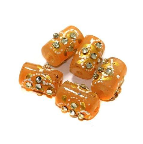 5 Pcs Handpainted Kundan Work Tube Beads Orange 16x10mm