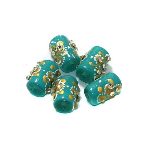 5 Pcs Handpainted Kundan Work Tube Beads Turquoise 16x10mm