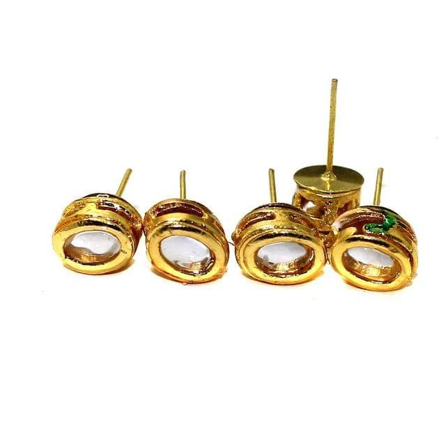 5 Pairs Kundan Earring Studs Oval 9x7mm