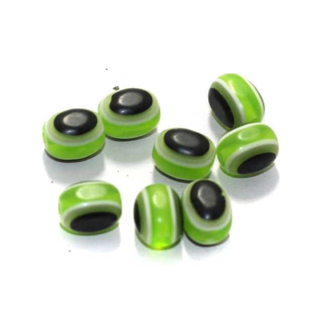 100 Pcs Acrylic Eye Beads Green Oval 10x7mm