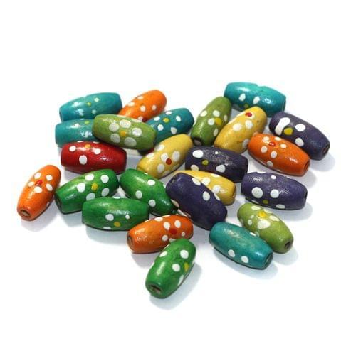 100 Pcs Handpainted Wooden Beads Multi 14x7mm