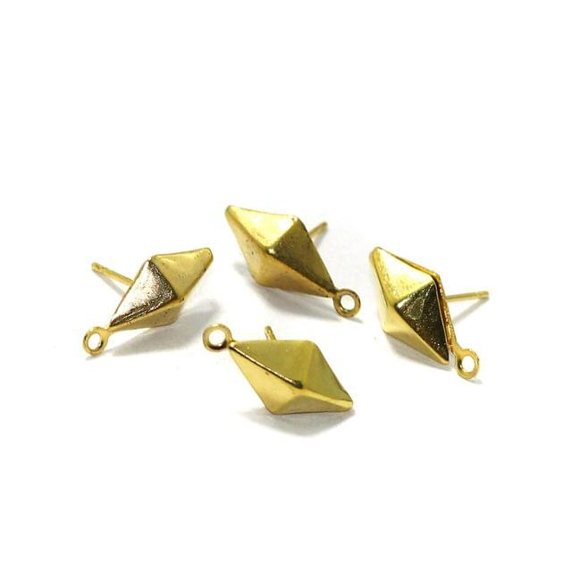 5 Pairs Post Stud Earring Findings With Closed Loop Gold 15x7mm