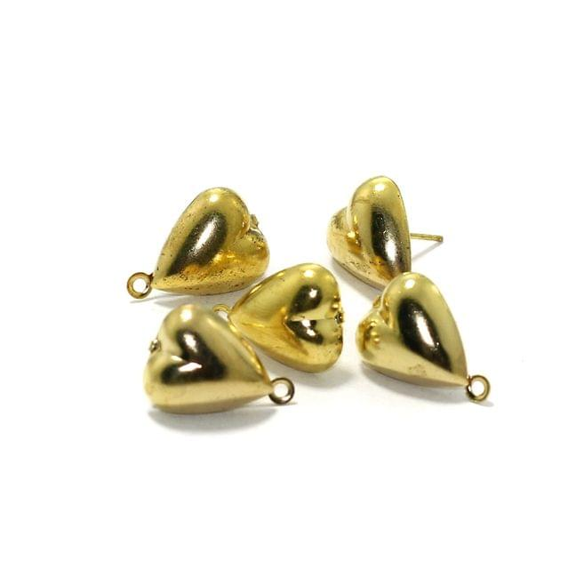 5 Pairs Post Stud Earring Findings Heart Shaped With Closed Loop Gold 16x11mm