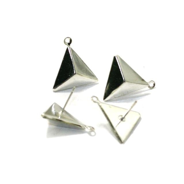 5 Pairs Post Stud Earring Findings Triangle Shaped With Closed Loop 13mm