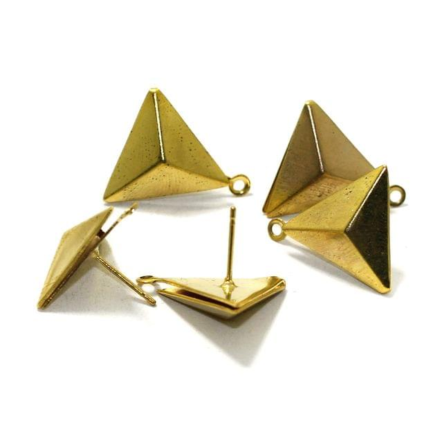5 Pairs Post Stud Earring Findings Triangle Shaped With Closed Loop Gold 13mm