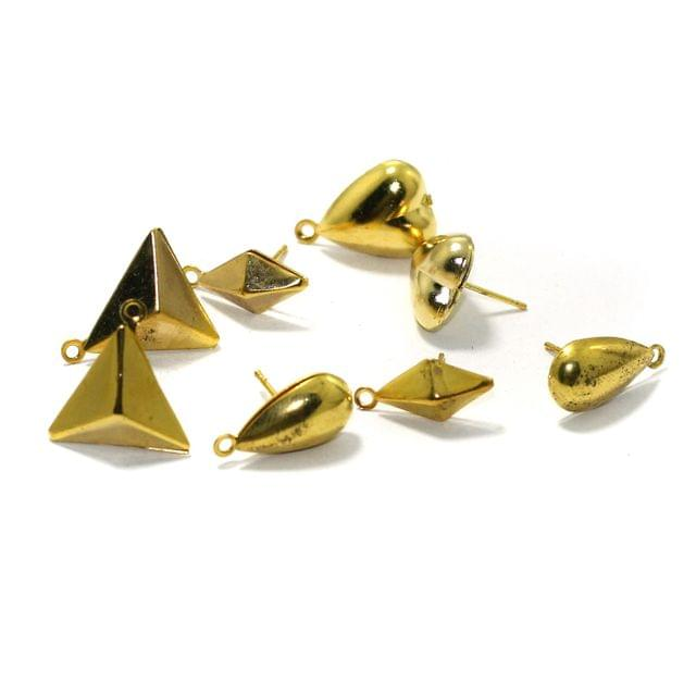 4 Pairs Assorted Shaped Post Stud Earring Findings With Closed Loop Gold