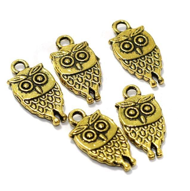 25 Pcs German Silver Owl Charms Golden 17x09mm