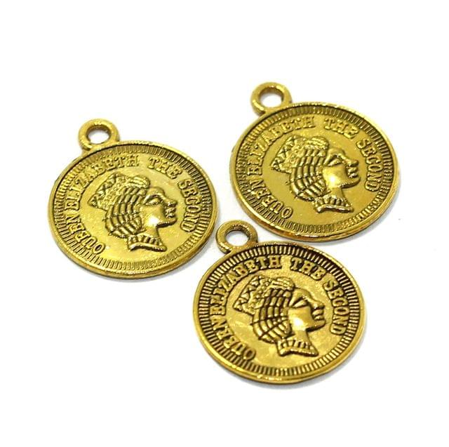 25 Pcs German Silver Coin Charms Golden 16mm
