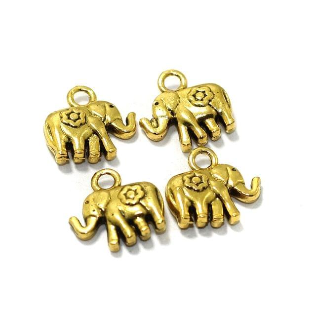 25 Pcs German Silver Elephant Charms Golden 11mm