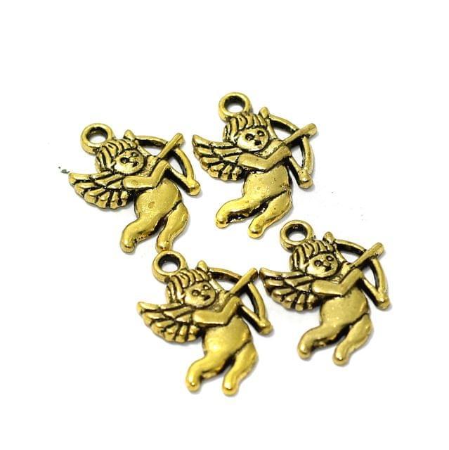 25 Pcs German Silver Angel Charms Golden 21X15mm