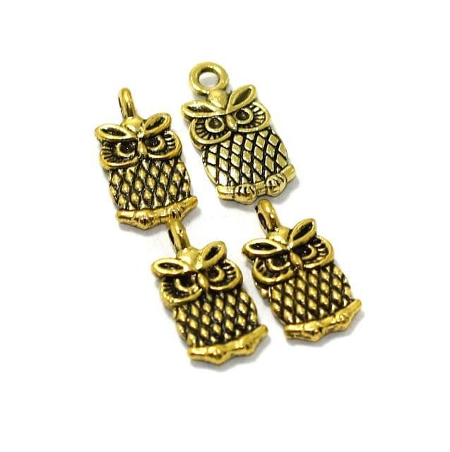 25 Pcs German Silver Owl Charms Golden 14X6mm