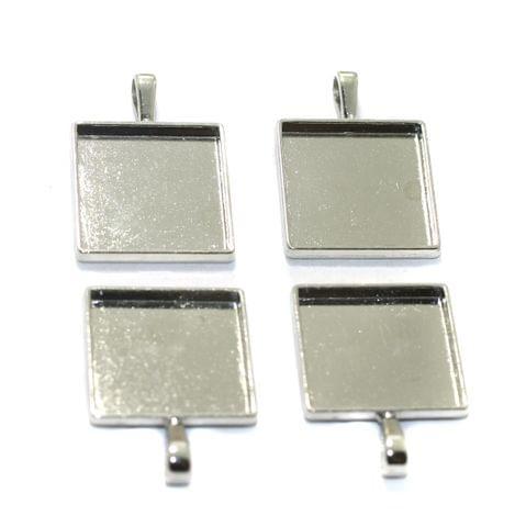 10 Pcs Square Bezel Setting Pendant Base Silver 1Inch
