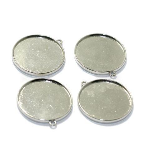 10 Pcs Double Sided Round Bezel Setting Pendant Base Silver 1.25Inch