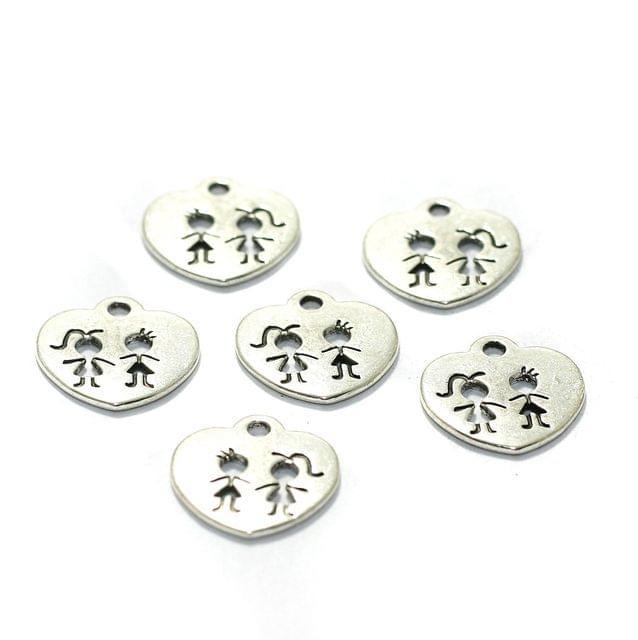 10 Pcs German Silver Heart Charms 15mm