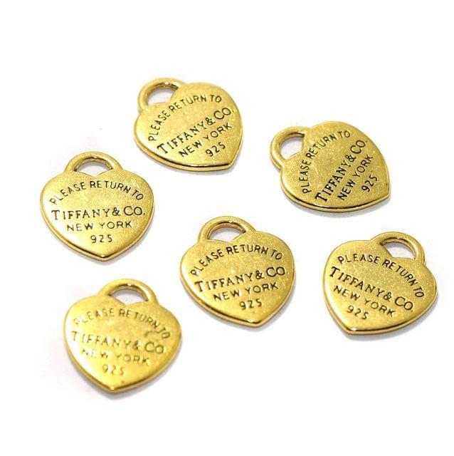 10 Pcs German Silver Heart Charms Golden Color 20mm