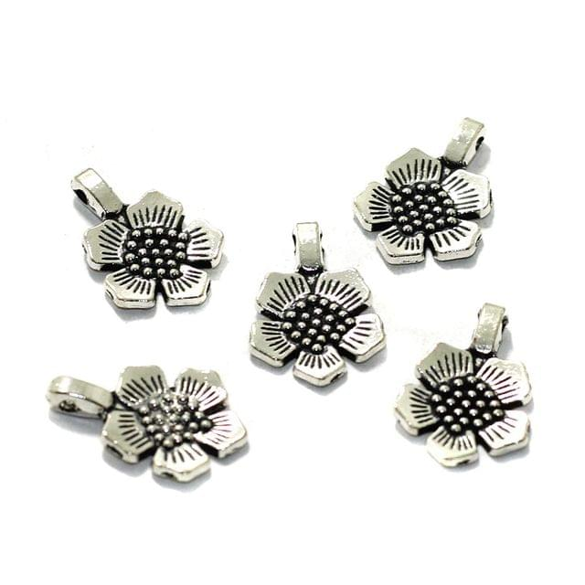 10 Pcs German Silver Flower Charms 15mm